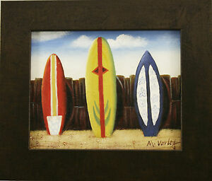 Surfboards-at-Beach-Sand-Ocean-Surf-Coastal-Shore-Sea-Art-FRAMED-OIL-PAINTING
