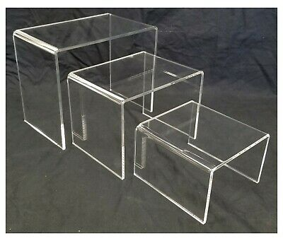 Acrylic Shoe And Merchandise Display Riser Set Of 3 One Each 6x6x4 8x6x6 10x6x8
