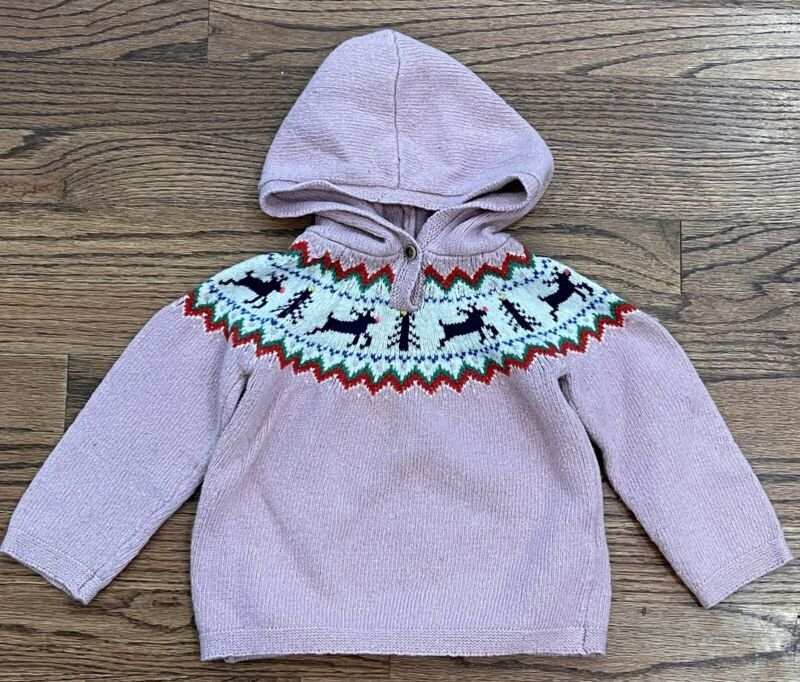 Baby Mini Boden Hooded Fair Isle Reindeer Sweater Dusty Pink Size 18-24m Girls