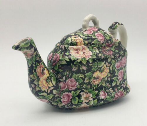 Unusual TRIANGULAR Chintz TEAPOT, Made in ENGLAND
