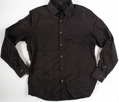THEORY Kale Black Button Down-L-Large-brown pattern-$225 retail -READ