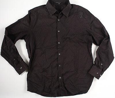 THEORY Kale Black Button Down-L-Large-brown pattern-$225 retail -READ