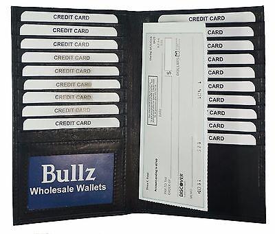 Black Genuine Leather Long Bifold ID Credit Card Money Holder Wallet Organizer.