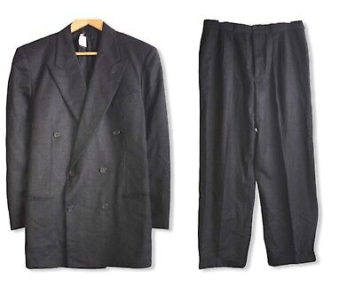 Giorgio Armani Black Label Mens Gray Double Breasted Wool/Cashmere Suit Size 42R
