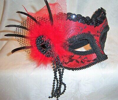 Pretty Masquerade Masks (Quality Women's  Mardi Gras Masquerade Carnival Red & Black Lace Mask  Pretty)