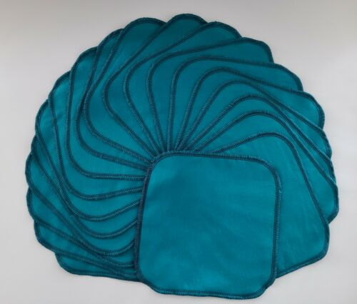 """Cloth Wipes 20 Flannel 8"""" Adult Turquoise Reusable TP Tissue Napkin 1 or 2 Ply"""