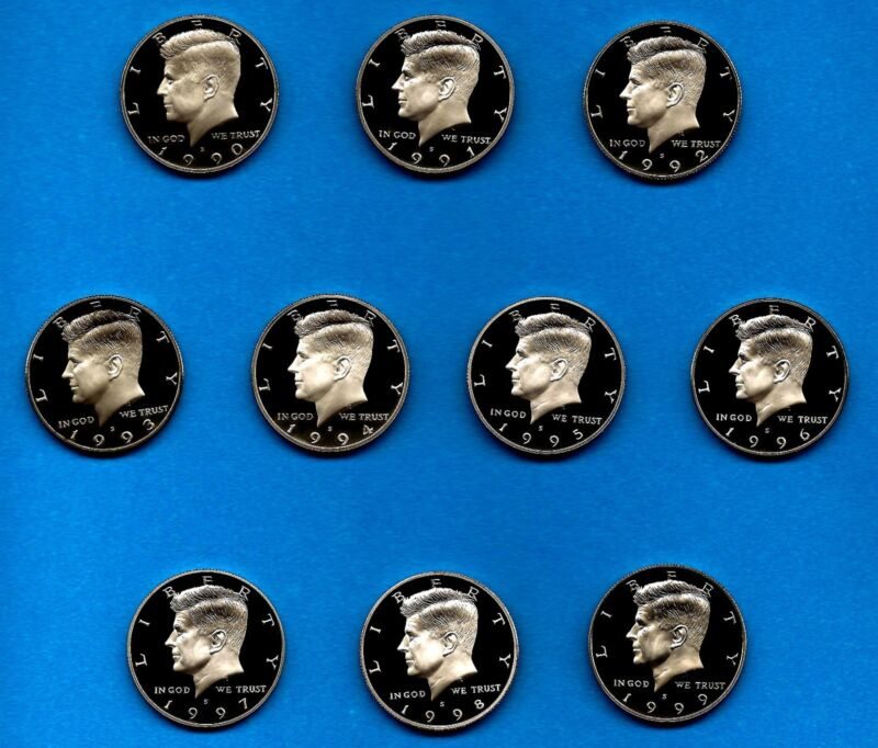 1990 S - 1999 S Clad Proof Kennedy Half Dollar Set of Ten Gem-90 through 99
