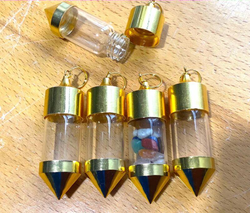Bulk Wholesale Lot Of 5 Pieces - Bottle Pendant Empty Gold Twist Top - Pendant