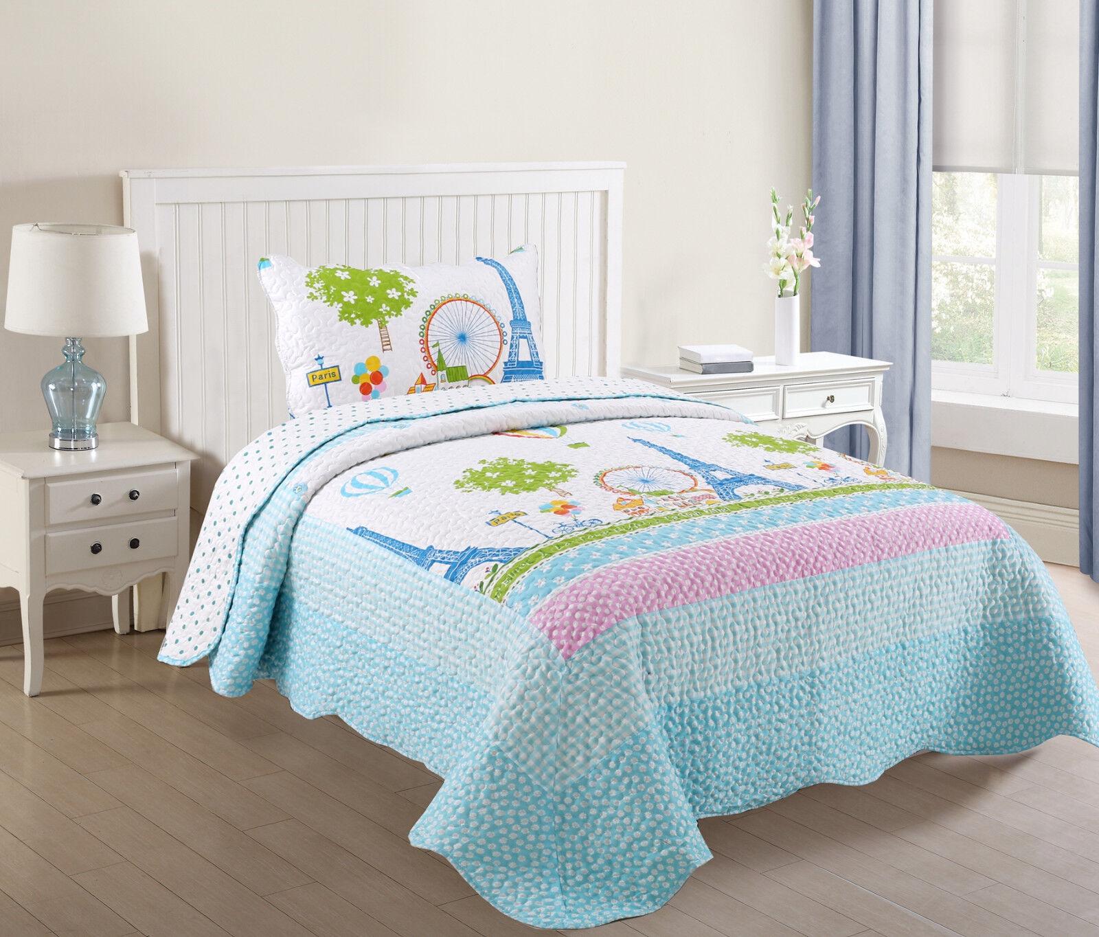 2 Pcs Kids Quilts Bedspread Set Throw Blanket for Teens Girl