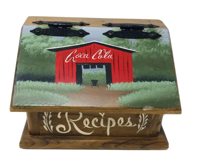 Vintage Solid Wood Tole Painted Rustic Coca Cola Hinge Lid Recipe Box