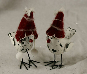 2-Bird-with-Wool-Hat-Standing-Ornament-Vintage-Chic-Christmas-Shabby-Decoration