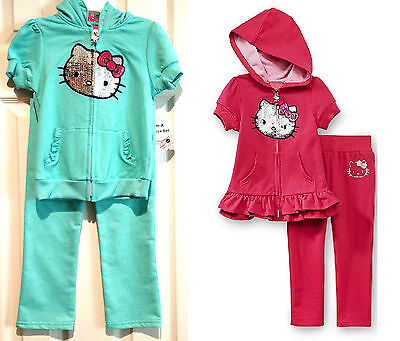Hello Kitty Toddler Outfit (Hello Kitty Toddler Girls Outfit 4T Tracksuit Hoodie Pants Pink Mint NWT)