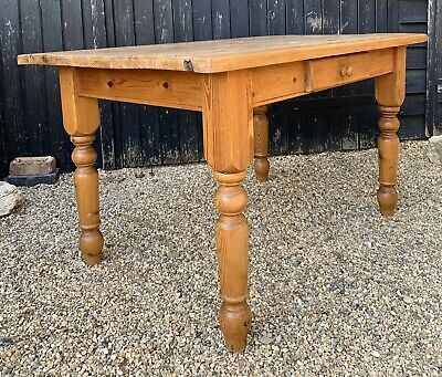 Rustic Solid Farmhouse Style Pine Kitchen Dining Table With Cutlery Drawer.