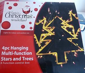 Xmas Lights BRAND NEW 4-piece multi-function hanging stars, trees Lane Cove West Lane Cove Area Preview