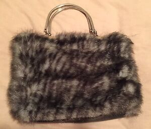 Faux Fur Clutch With Silver Handles in excellent used condition Aspendale Gardens Kingston Area Preview
