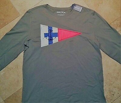 *NWT Nautica Long Sleeve Sewed On Graphic Tee Shirt 100% Cotton Olive Green L