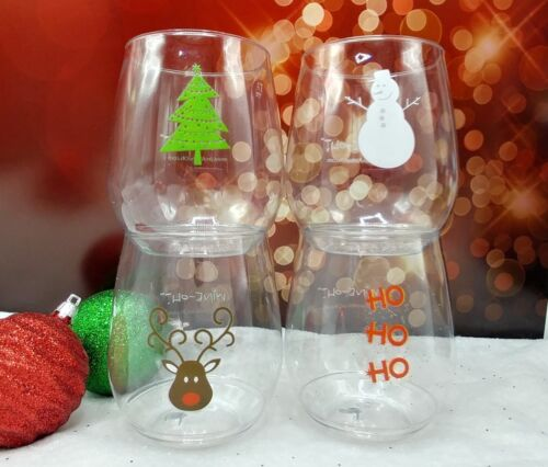12 count Wine-Oh! CHRISTMAS Plastic BPA Free Shatterproof Wine Glass CLOSEOUT