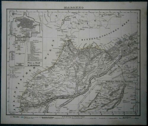 1849 Sohr Berghaus map MOROCCO, WITH PLAN OF MARRAKESH (#25)