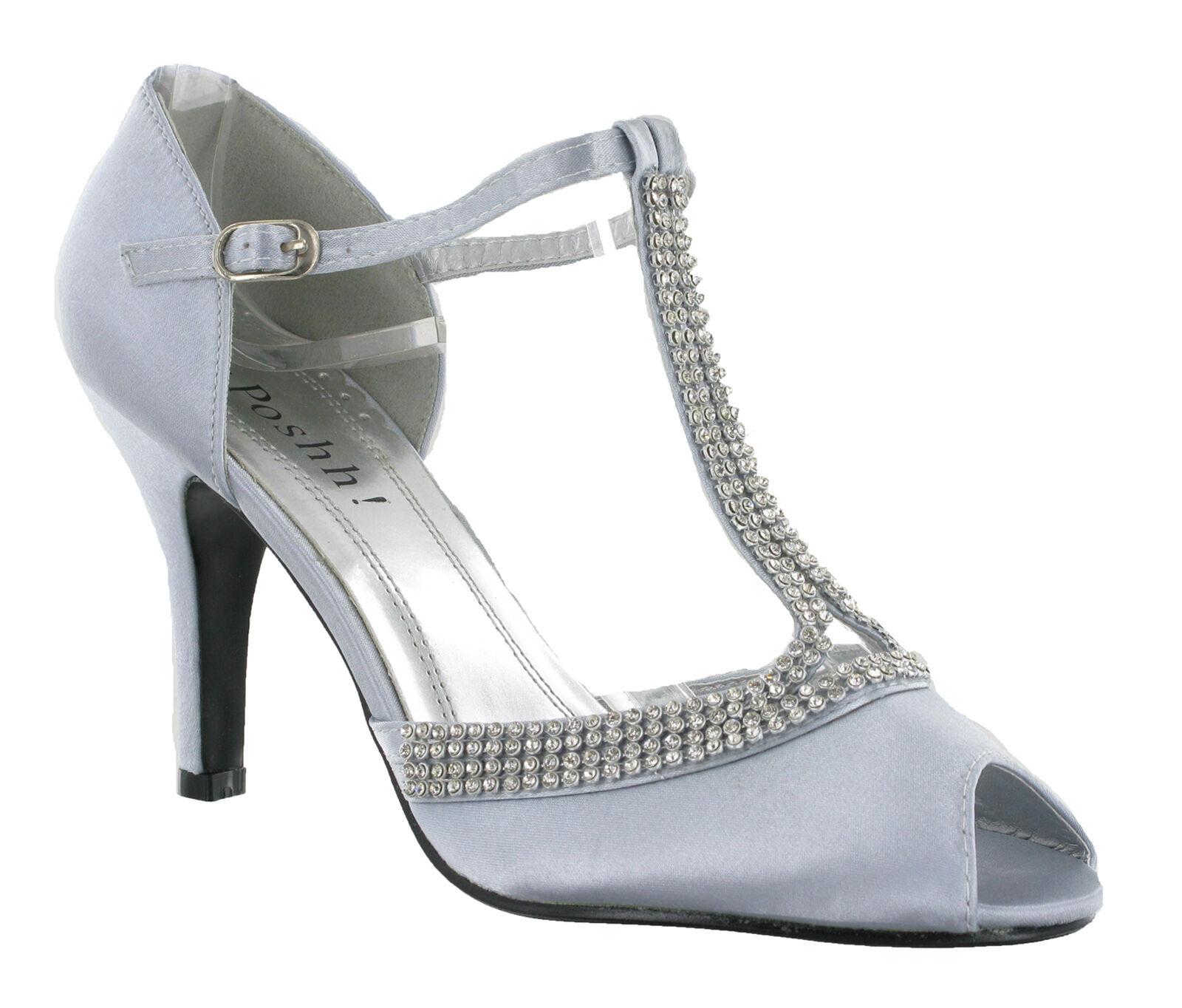 ff64834c4713f9 T-Bar Heels Diamante Bridal Wedding Party Dress Womens Evening Shoes UK 3-8