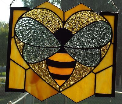 Handmade Stained Glass Bee & Hive