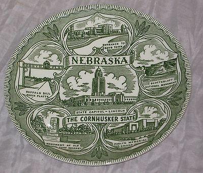 "Nebraska State 7¼"" Green Collector Plate Cornhusker Lincoln Boys Town #DH68"