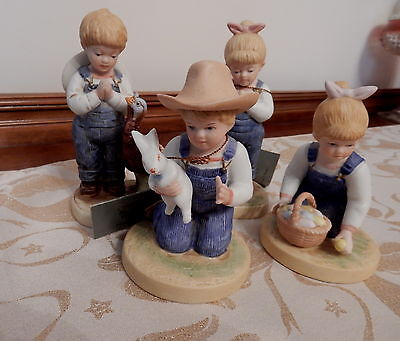 Home Interiors/Homco2 Sets of Denim Days  Figurine Thanksgiving & Easter