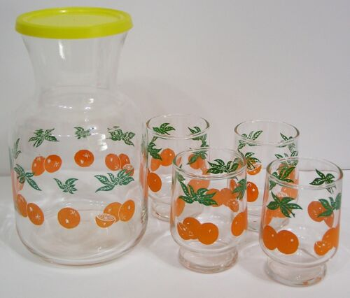 Vintage Federal Glass Oranges Juice Carafe Decanter and Four Matching Glasses