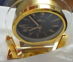 MARCO PIANO FINISHED CLOCK UNUSED IN ORIGINAL BOX SIZE  5 BY 5  GOLD TONE