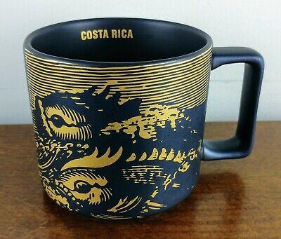 STARBUCKS Costa Rica Mug Black Gold 2016 Fish 14 oz Coffee Tea RARE FREE SHIP
