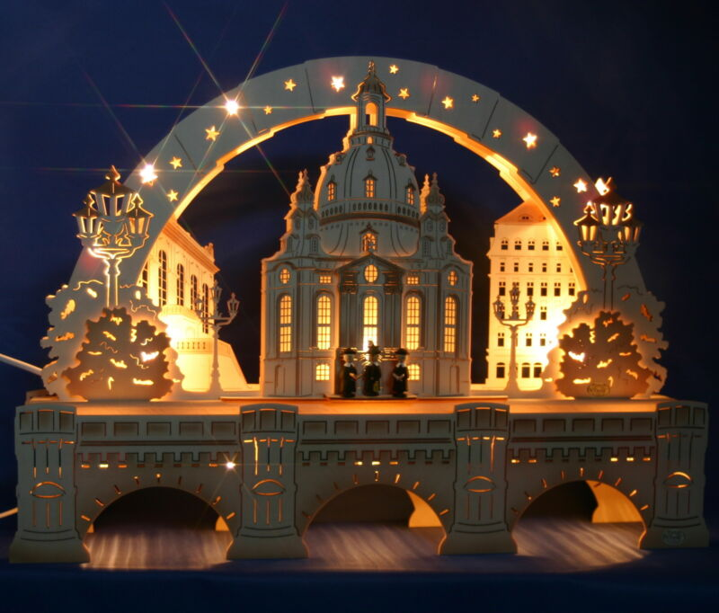 3D Schwibbogen excl.52cm Frauenkirche Dresden + Sockel Augustusbrücke Erzgebirge