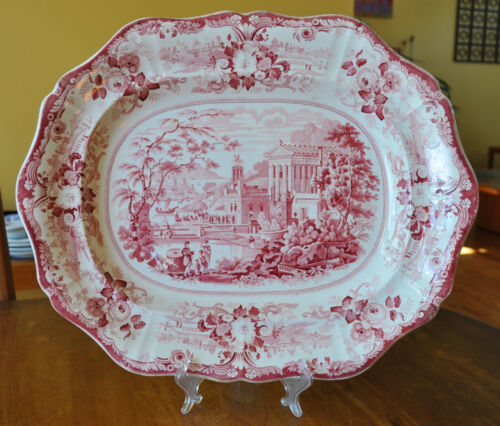 Huge Antique Transferware Staffordshire Ironstone Platter Grecian Scenery 19""
