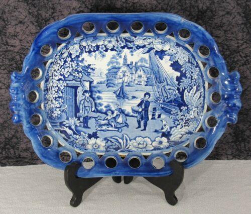 Antique Staffordshire Blue Transferware Fisherman