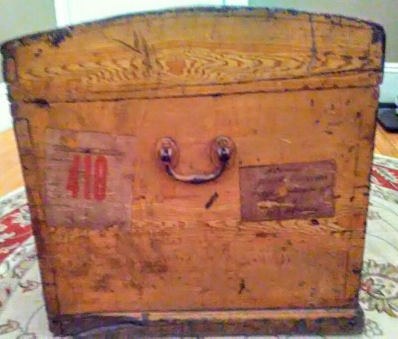 Antique Dome Top Trunk Wood Immigrant Trunk 19th century Greek Greece to Boston