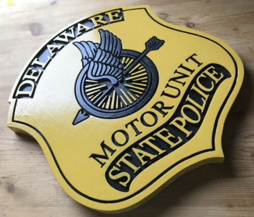 Police Department Delaware Motor Unit Patch Sign 3D routed plaque Custom