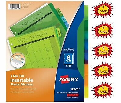 5 Pack Avery 8 Multicolor Big Tab Plastic Binder Dividers Insert Multicolor