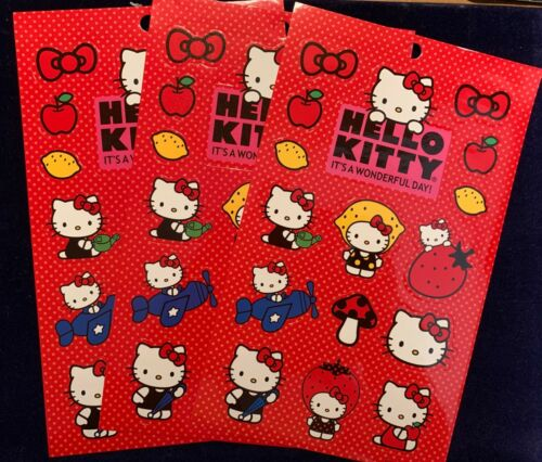 Sanrio HELLO KITTY 3 Large Sheets FRUIT Lemon Strawberry Bow Airplane Stickers!