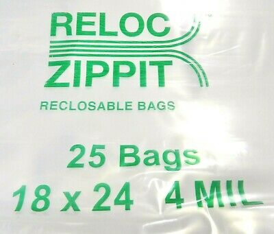 Jumbo Ziplock Bags 18x24 Clear 4mil 25pcs Reclosable Zip Lock Large Bag 18x24