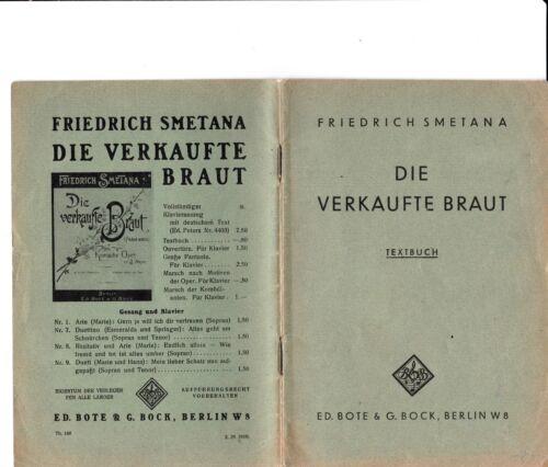 Die verkaufte Braut  Textbuch der Oper (auf deutsch) von Friedrich Smetana