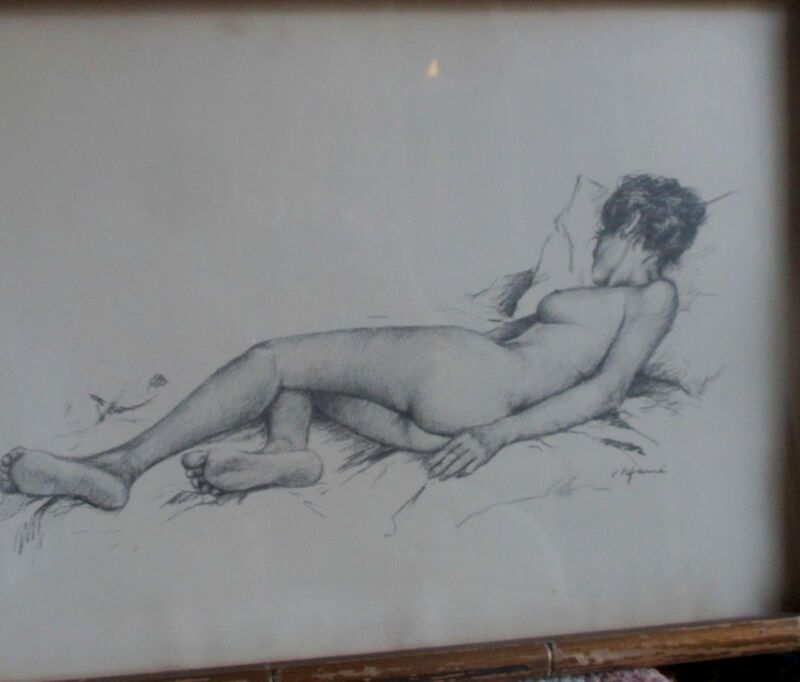 VTG  MID 20TH CENTURY PENCIL ON PAPER SLEEPING NUDE FEMALE BY J. PIFARRE' #GBF13
