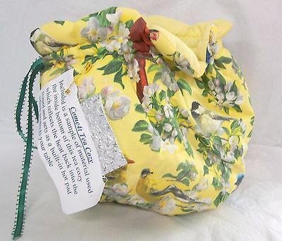 Fabric Tea Pot COZY 4-8 Cup by Come4T Yellow Floral with Birds NEW CR