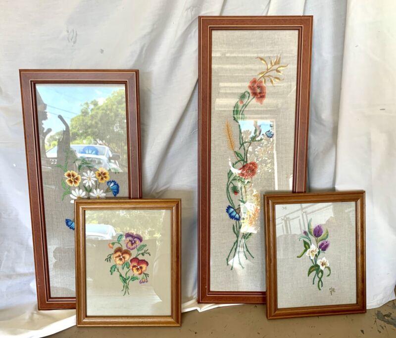 Set Of Embroided Framed Art. Flowers On Linen