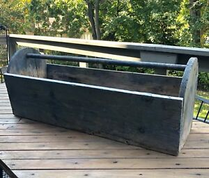 "Large 32"" Vintage Wooden Tool Caddy Box - Rustic Decor"