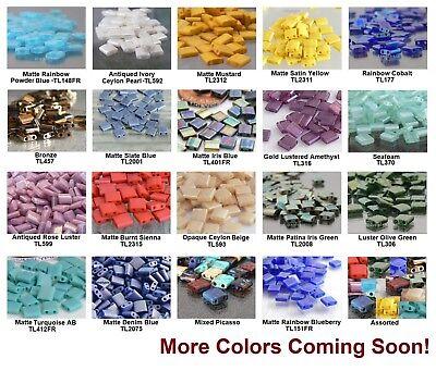 ++ 50 Square 2-Hole TILA Glass Beads 5mm Miyuki Choose Color NEW (Miyuki Glass Beads)