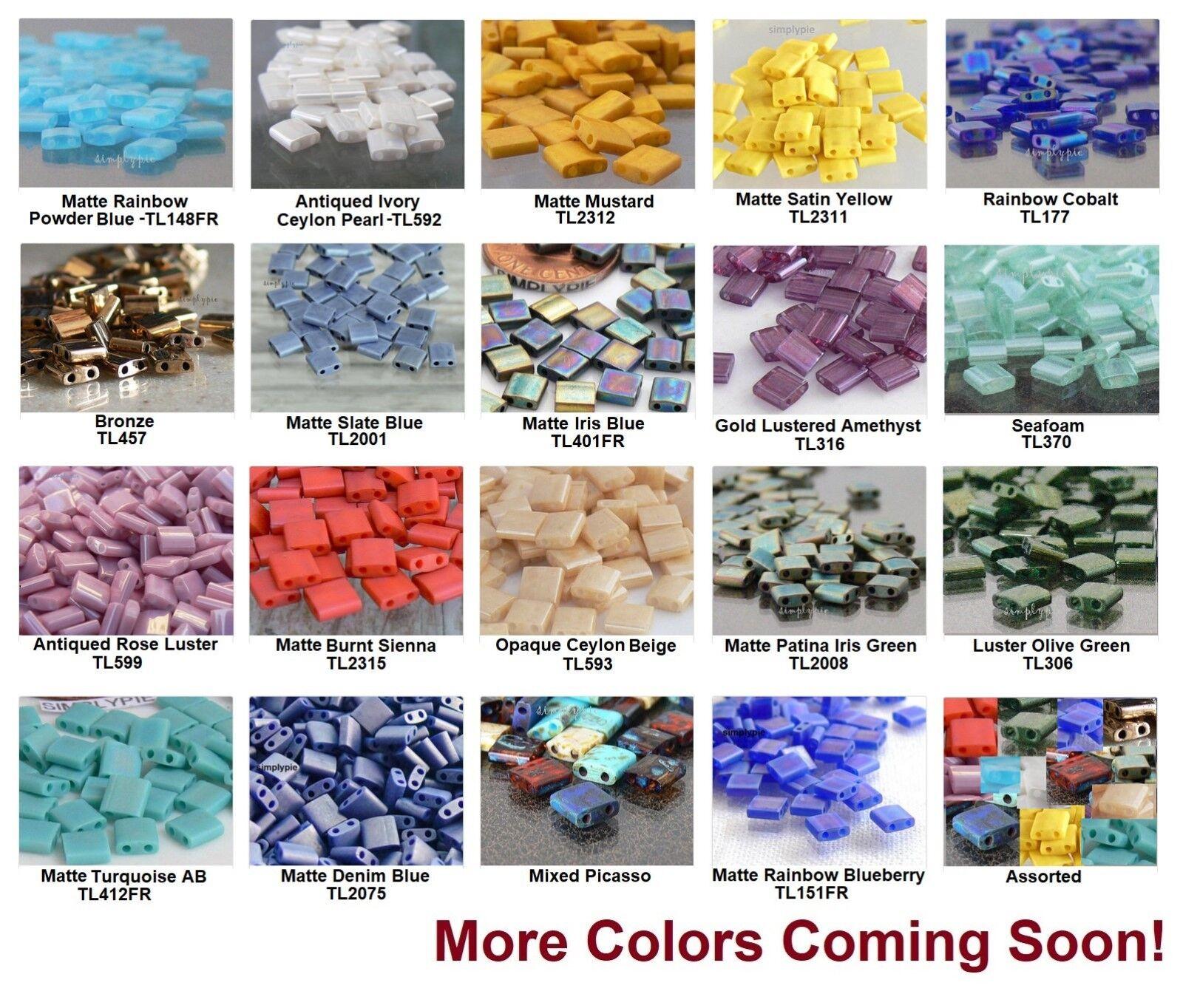 50 Square 2-Hole TILA Glass Beads 5mm Miyuki Choose Color NE