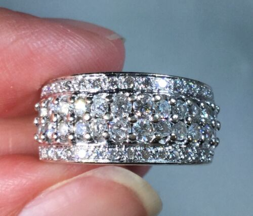 LeVian 18k White Gold 1.25 CTW Diamond Heavy Wide Band Ring with Paperwork