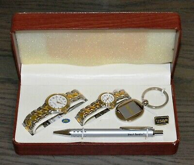 Paul Jardin Men's and Women's Two Tone Watch Set with Pen and Keychain BRAND NEW