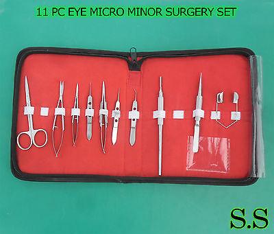 11 Pc Eye Micro Minor Surgery Veterinary Ophthalmic Instrument Set Kit