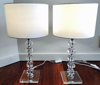 2x white and crystal table lamps