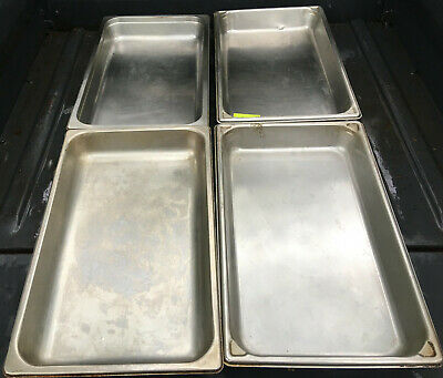 Lot Of 4 Stainless Steel Full Size 2.5 Deep Steam Table Pans 520e