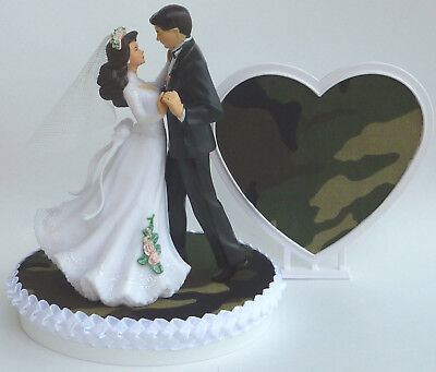 Camo Wedding Cake Toppers (Wedding Cake Topper Camo Bride Groom Dancing Themed Camouflage Hunting w/)